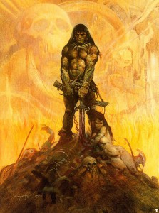 An Iconic Frank Frazetta painting of Conan.
